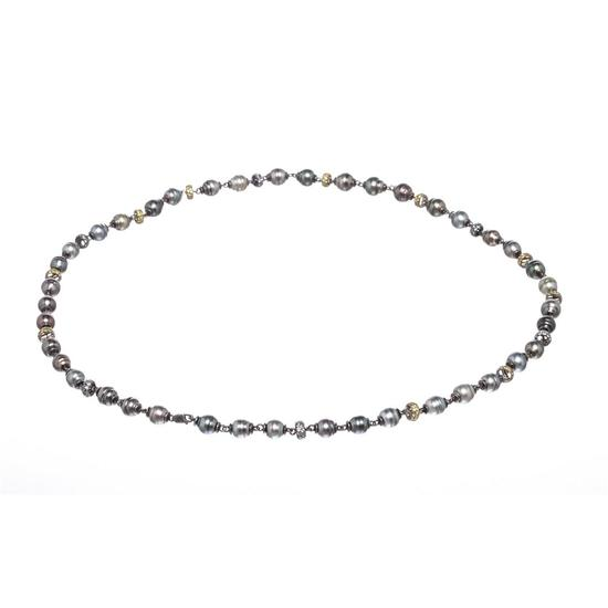 Tahitian Circle Pearl Long Necklace