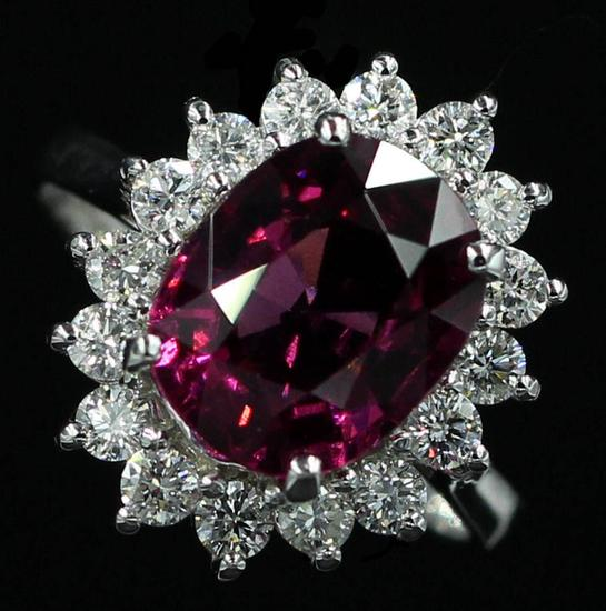 4.16 ctw Pink Rhodolite and Diamond Ring - 14KT White Gold