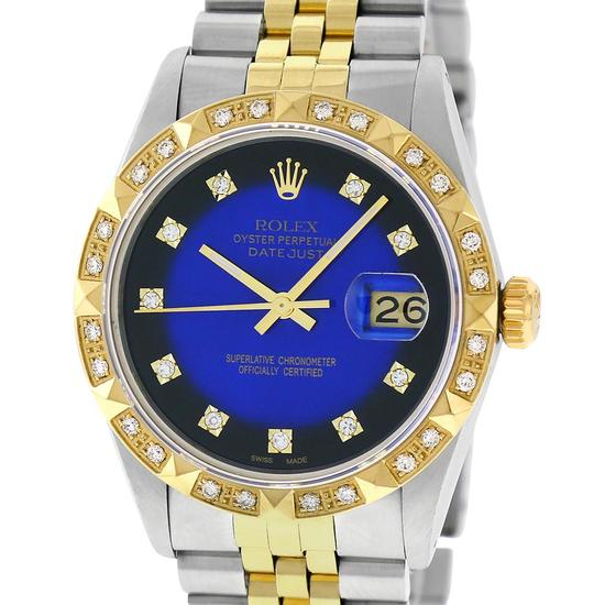 Rolex Mens 2 Tone 14K Blue Vignette String Pyramid Diamond Datejust Wristwatch