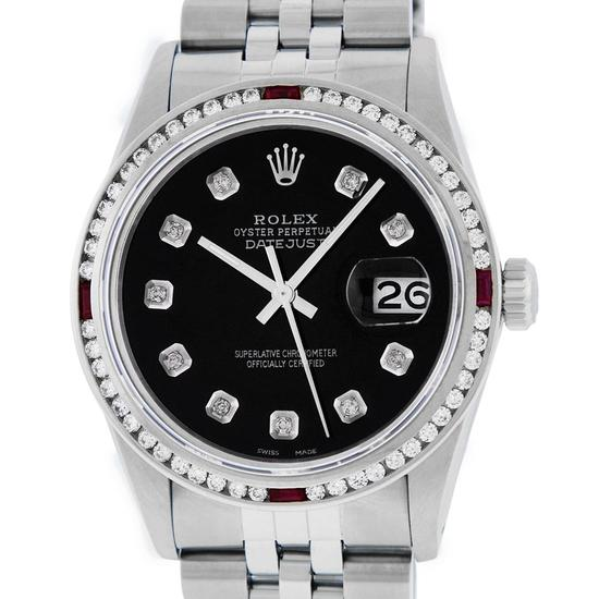 Rolex Mens SS Black Diamond & Ruby Channel Set Diamond Datejust Wristwatch