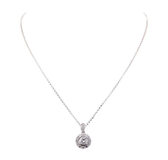 2.89 ctw Diamond Pendant And Chain - 14KT White Gold