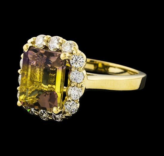 3.73 ctw Ametrine and Diamond Ring - 14KT Yellow Gold