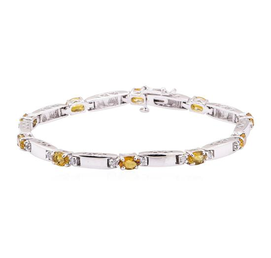 4.03 ctw Citrine Quartz And Diamond Bracelet - 14KT White Gold