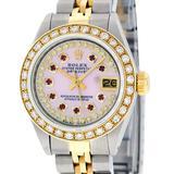 Rolex Ladies 2 Tone 14K Pink MOP Ruby String Diamond Datejust Wristwatch