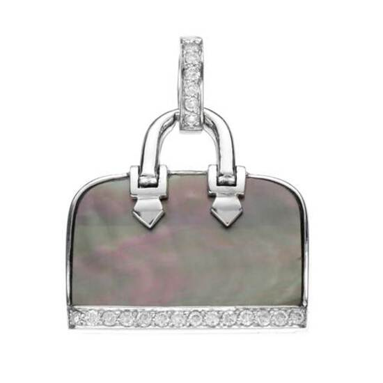 18k White Gold 0.20CTW Mother Of Pearl and Diamond Pendant, (SI3/Black/G-H)