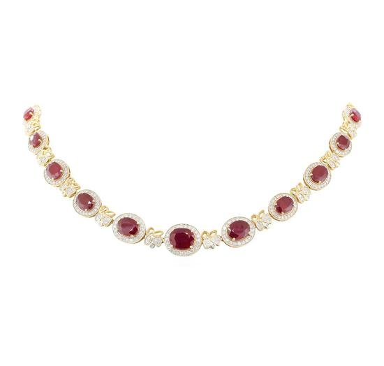 36.75 ctw Ruby and Diamond Necklace - 14KT Yellow Gold