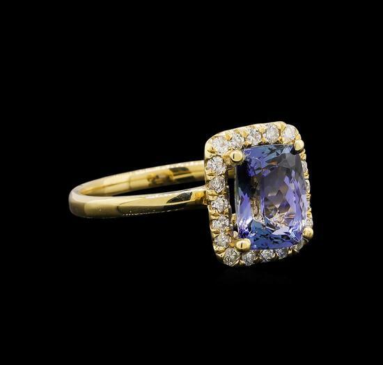 14KT Yellow Gold 2.11 ctw Tanzanite and Diamond Ring