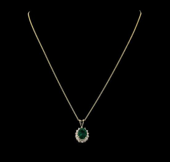 3.10 ctw Emerald and Diamond Pendant With Chain - 14KT Yellow Gold