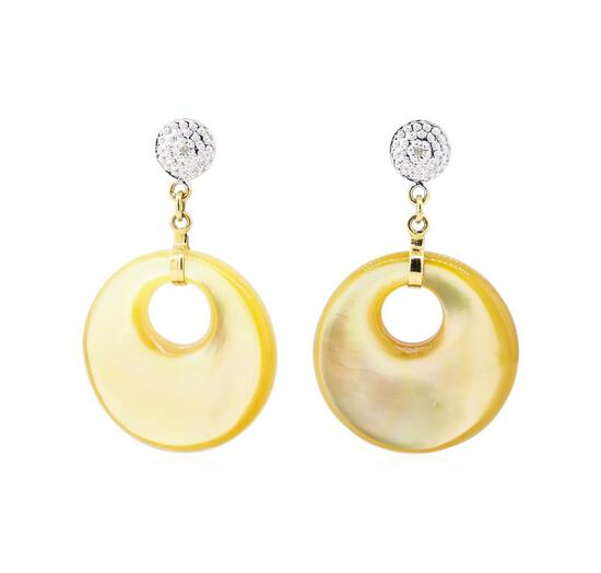 0.02 ctw Diamond and Mother of Pearl Earrings - 14KT Yellow Gold