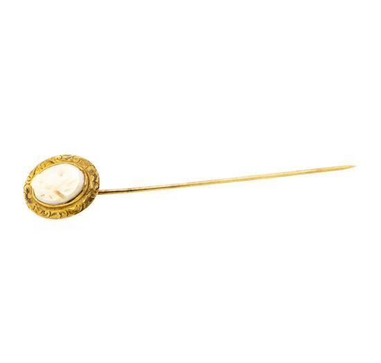 Conch Shell Cameo Stick Pin - 10KT Yellow Gold