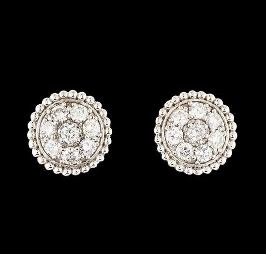 1.02 ctw Diamond Earrings - 14KT White Gold