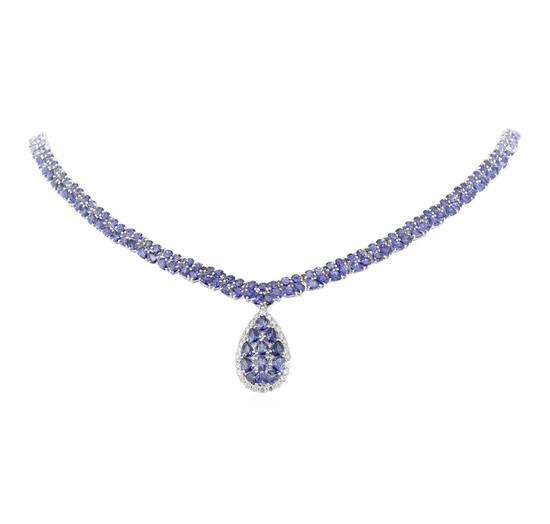 34.55 ctw Tanzanite and Diamond Necklace - 14KT White Gold