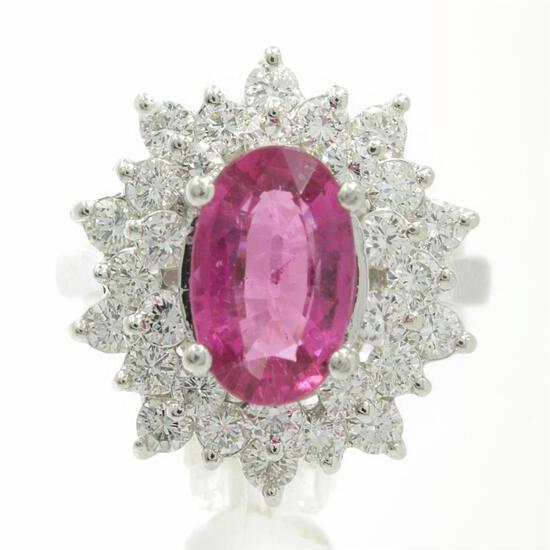 3.66 Carat Round Cut Rubellite Diamonds Oval Cut Flower Ring 14k White Gold