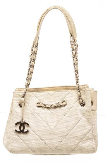Chanel Cream Chevron Quilted Canvas Leather Accordion Shoulder Bag