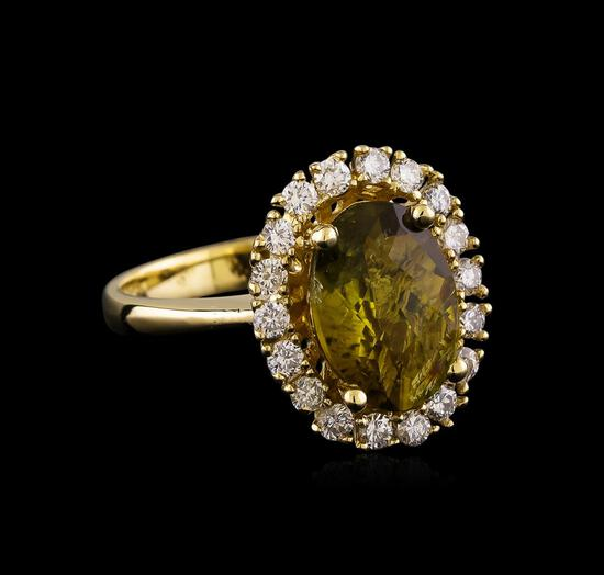 2.80 ctw Turquoise and Diamond Ring - 14KT Yellow Gold