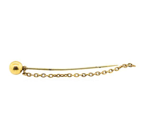 Ball and Chain Stick Pin - Yellow Gold Plated