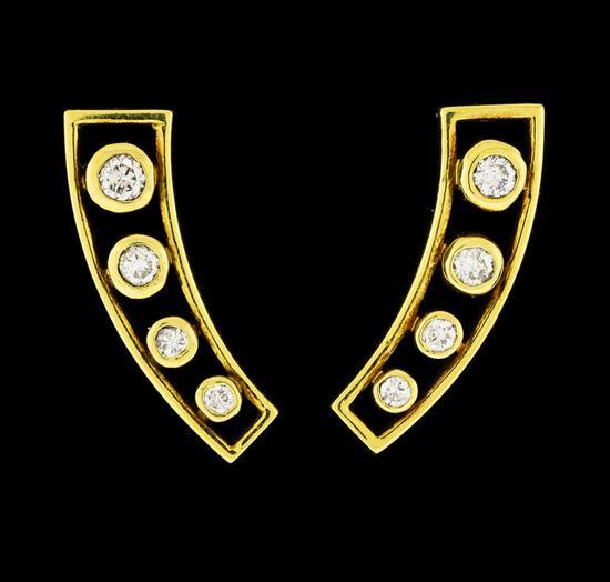 0.42 ctw Diamond Earrings - 18KT Yellow Gold