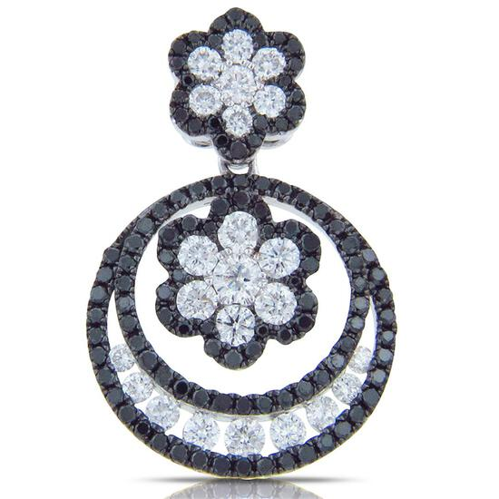 14k White Gold 1.23CTW Diamond and Black Diamonds Pendant, (SI1/G)