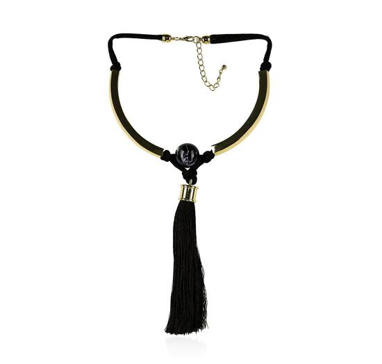 Silk Tassel Pendant Necklace - Rhodium Plated