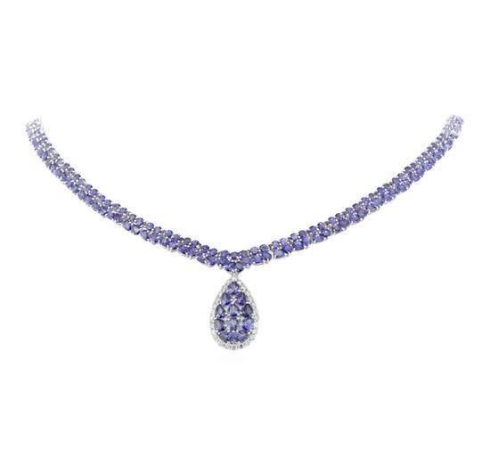 34.55 ctw Tanzanite and Diamond Necklace - 14KT White Gold