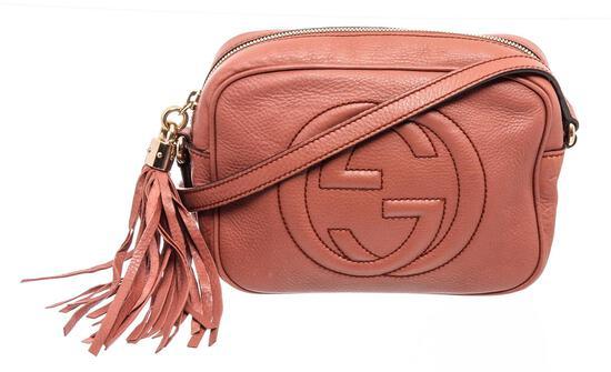Gucci Pink Pebbled Leather Soho Disco Crossbody Bag