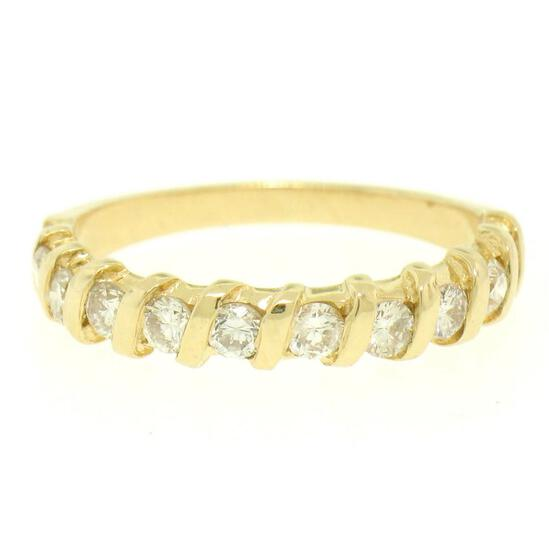 14k Yellow Gold .60 ctw G/H VS2 Bar Set Round Brilliant Diamond Band Ring