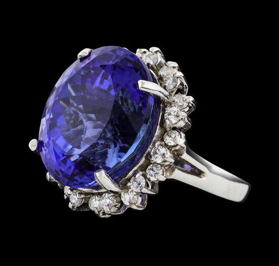 22.03 ctw Tanzanite and Diamond Ring - 14KT White Gold