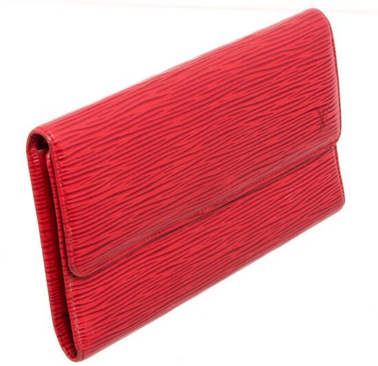 Louis Vuitton Red Epi Leather Porte Tresor International Wallet