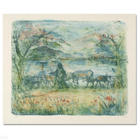 """""""Greek Farmer"""" Limited Edition Lithograph by Edna Hibel, Numbered and Hand Signe"""
