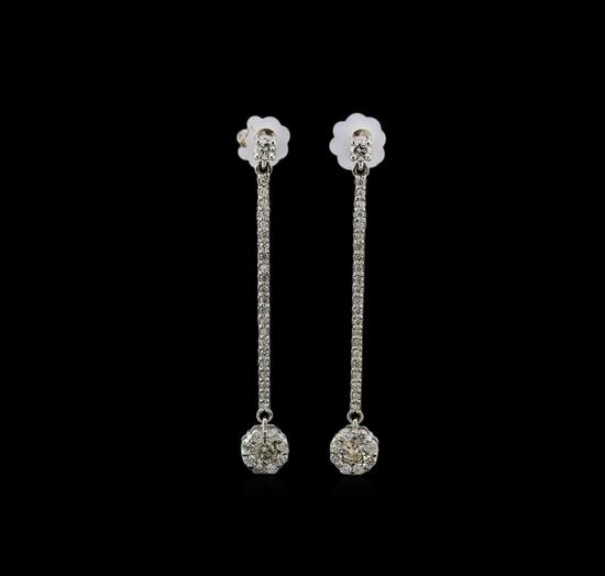 14KT White Gold 0.89 ctw Diamond Earrings