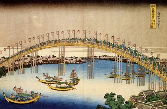 Hokusai - Tenma Bridge
