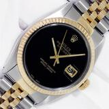 Rolex Datejust Mens 36 Black Onyx 18K/SS Oyster Perpetual Serviced Polished
