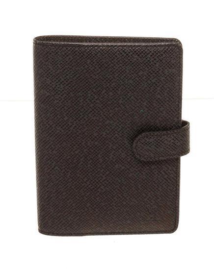 Louis Vuitton Black Leather Agenda PM Wallet