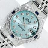 Rolex Ladies Stainless Steel Ice Blue Diamond 26MM Oyster Perpetaul Datejust Wit