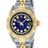 Rolex Ladies 2 Tone Blue Vignette Diamond Lugs Pyramid 26MM Datejust Wriswatch