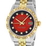 Rolex 2 Tone Red Vignette Pyramid Diamond Oyster Perpertual Datejust 36MM