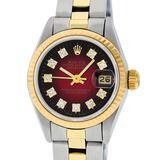 Rolex Ladies 2 Tone Red Vignette Diamond 26MM Oyster Perpetual Datejust Wristwat