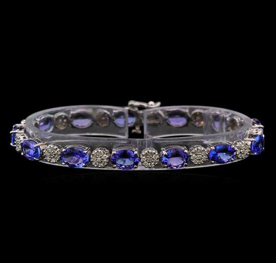 14KT White Gold 17.16 ctw Tanzanite and Diamond Bracelet