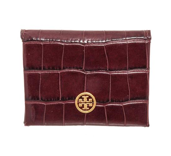 Tory Burch Brown Embossed Parker Foldable Wallet