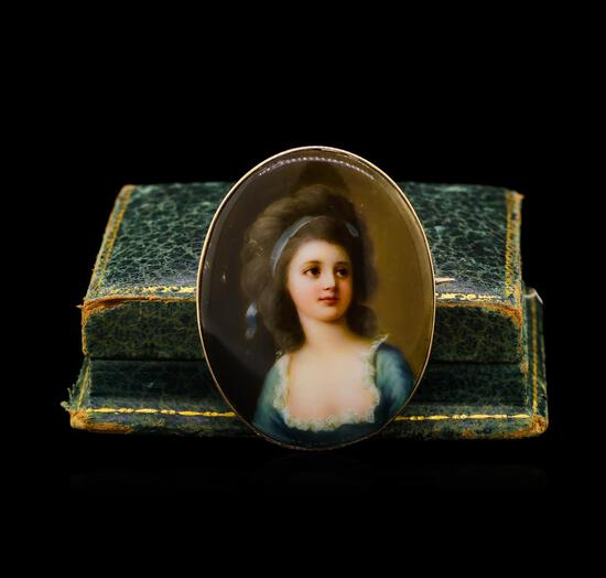 Hand Signed Franz Till Porcelain Pin - 14KT Yellow Gold