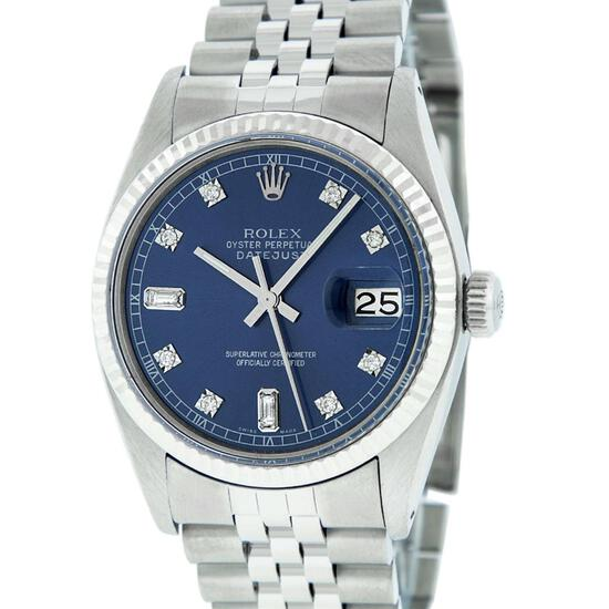 Rolex Mens Stainless Blue Diamond 36MM Oyster Perpetaul Datejust