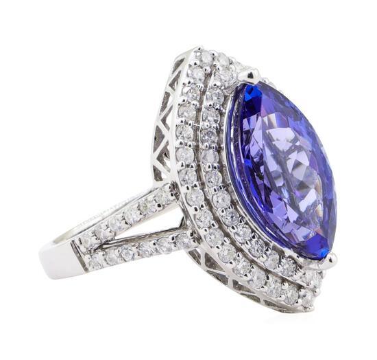 4.17 ctw Tanzanite and Diamond Ring - 14KT White Gold