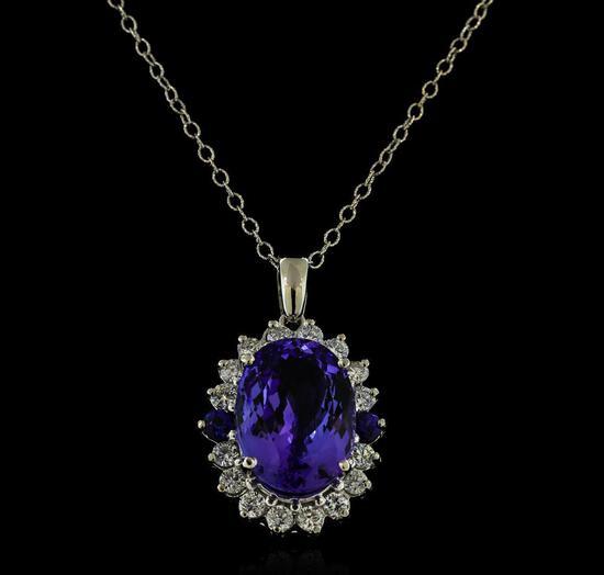 16.40 ctw Tanzanite, Sapphire, and Diamond Pendant With Chain - 14KT White Gold
