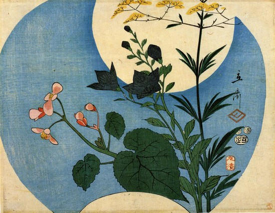 Hiroshige Autumn Flowers with Full Moon