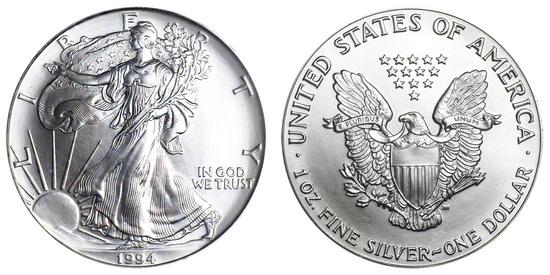 1994 American Silver Eagle .999 Fine Silver Dollar Coin