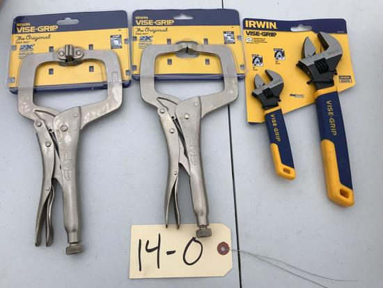 IRWIN Tools, 2 large Vise-Grip Clamps, and 2 Adjustable Wrenches