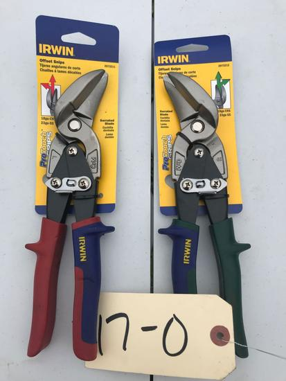 2 pairs, Irwin Aviation Snips, Right and Left Hand