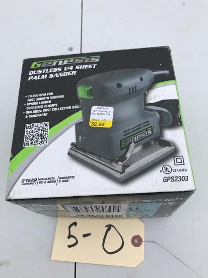 Genesis Dustless 1/4 sheet Palm Sander, New in Box