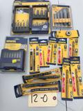Drill bits and driver assortment. All NEW in original packages, assorted drill bits and drivers