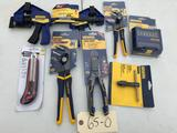 IRWIN Tool Lot, Pliers, Clamps, Tap Handle, Bit Set and a Master Mechanic Utility knife
